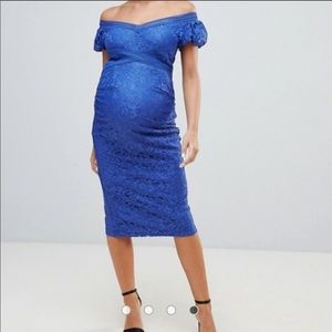 Blue lace ASOS maternity dress